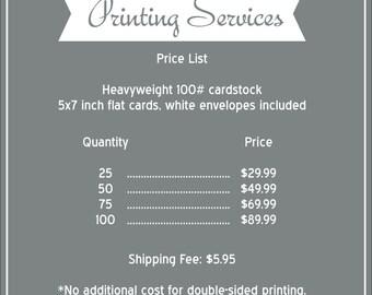 5x7 Professional Printing Servies, prints & envelopes
