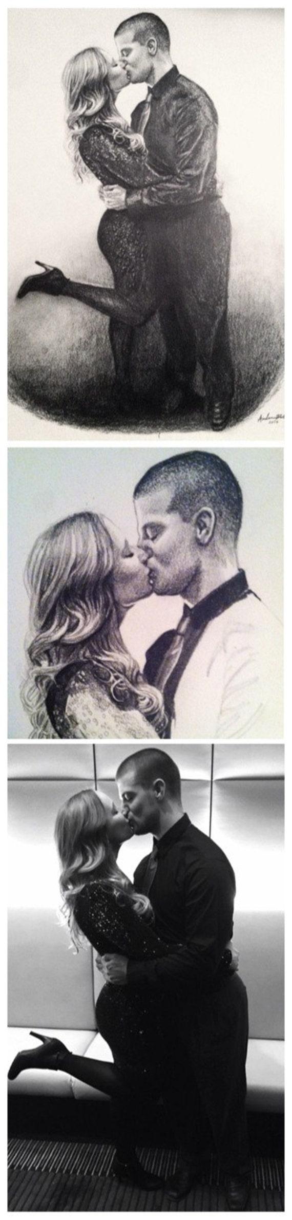 Custom Original Portrait Drawing in Graphite Pencil Realistic Detailed