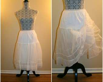 1950's Vintage Francine White Sheer Petticoat