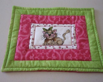 Quilted Kitty Cat Mug Rug, Hot Pad, Table Topper.