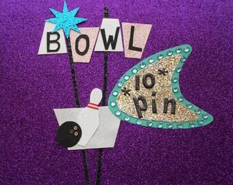 retro bowl  whimsical art  funky art  wall art  wall decor  bowling art  glitter art