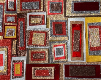 squares brown abstract shapes glitter  art earth tones wall decor abstract squares  wall art  home decor