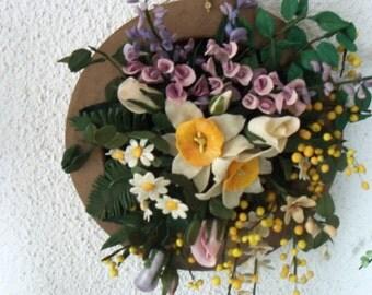 Spring flower arrangement in cold porcelain, entirely handmade