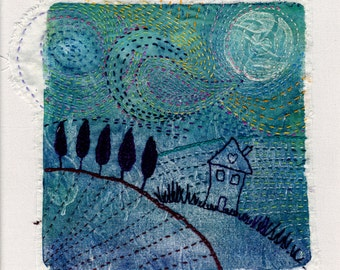 Original Textile Art, Monoprint and hand stitch picture