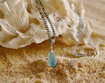 Sold!  Turquoise Sea Glass Necklace
