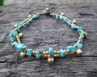 Turquoise anklet,Brass bead anklet, Bell anklet