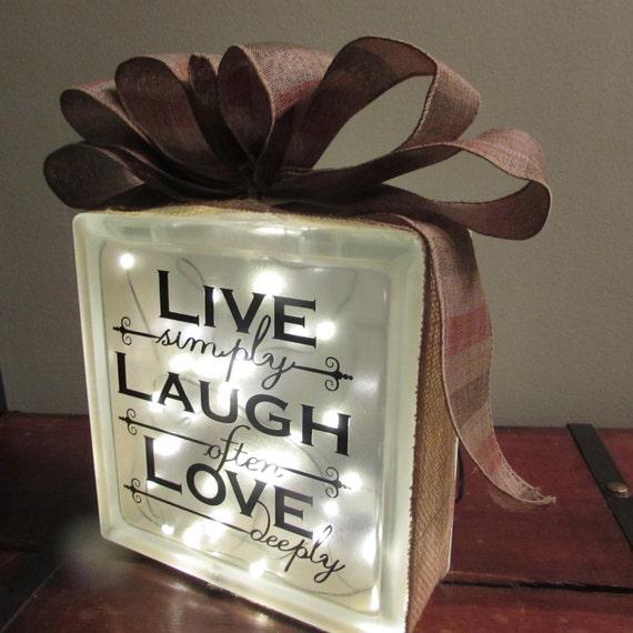 Decorative Light Blocks : Live laugh love decorative light glass block