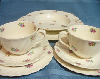 "Vintage pink & white rose tea set by Clarice Cliff - ""Devonshire"" Royal Staffordshire England # HS-PL-26"