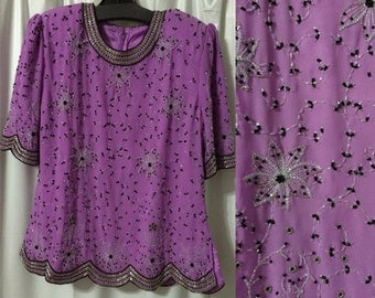 Orchid beaded blouse #1359