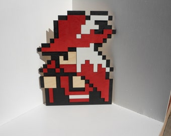 "8 Bit Final Fantasy Red Mage Wall Art Video Game Decor - Eight Bit Wood 8"" x 10"""