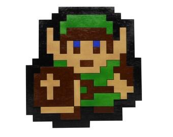 "8 Bit Link from NES Legend of Zelda Wall Art Video Game Decor - Eight Bit Wood 6.5"" x 7"""