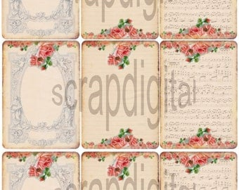 Instant download*digital sheet*old paper*scrapbooking*tags*labels*printable*shabby roses*13