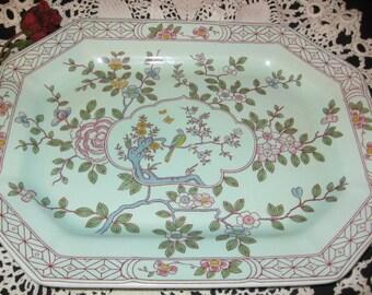 Calyx Ware Adams Made In England Singapore Bird Pattern /English Stoneware/Vintage Dinnerware