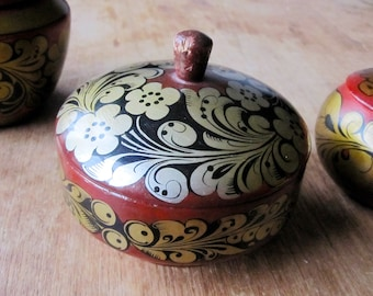 Genuine 1970's Russian Folk Art Khokhloma Style, Hand Painted Vintage Wooden Pot with Lid - Made in USSR