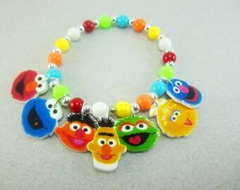 Sesame Street Charm Bracelet, Sesame Street Jewelry, Sesame Street Birthday, Sesame Street Party Favors,