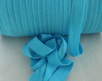 """Misty Turquoise Fold Over Elastic - 5 yards Fold Over Elastic - 5/8"""" Turquoise Fold Over Elastic - Elastic By The Yard - Misty Turquoise FOE"""