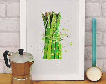 Kitchen Print - Asparagus. Wall art for kitchen, cafe or restaurant. Birthday gift for cook or chef or vegetarian present