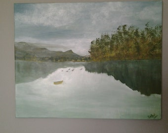Painting of Ducks On The Lake.  Nature at its best.