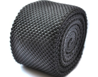 Plain silver grey knitted skinny tie by Frederick Thomas FT267