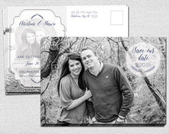 Black & White Photo Save the Date Postcard