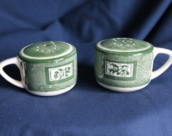 Green and White Salt and Pepper Shakers,   Mug Shakers