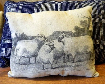 Primitve Three Sheep in a Pasture Handmade Tea Dyed Feed Sack Pillow - Cupboard Tuck