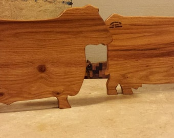 Red Oak Bull or Cow Cutting Boards