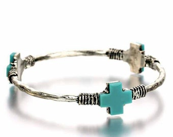 Turquoise Cross Bangle Bracelet