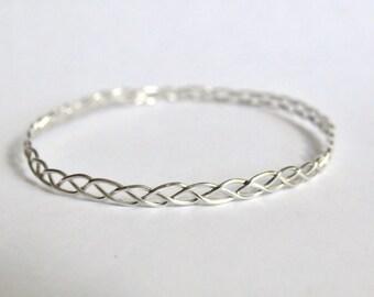 Silver bracelet, braided