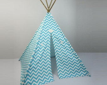 Kids Play Teepee Tent in Girly Blue and White Chevron Zig Zag Tipi print