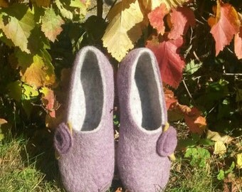 Wool felted slippers 100% natural wool