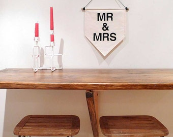 Mr & Mrs. Handmade Wall Banner. Affirmation Wall Hanging / Handmade Fabric Wall Flag / Home Decoration