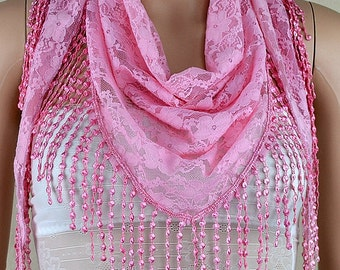 Beautiful pink lace triangle scarf, scarves, fashion lace hollow-out tassel scarf