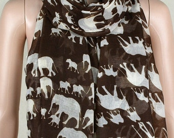Brown cotton leisure scarf, lucky elephant print scarves, shawls, collar