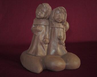 "Lil sweet #3416,2 choir girls w/ rose on hearts,4"" molded pecan resin figurine,unpainted"