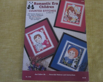 Romantic Era Children,cross stitch pattern book,Victorian designs,needlepoint,counted stitches