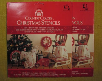 """Country Colors,Christmas Stencils,2 sets,6 designs, 3""""-5"""" in size,pre cut plastic"""