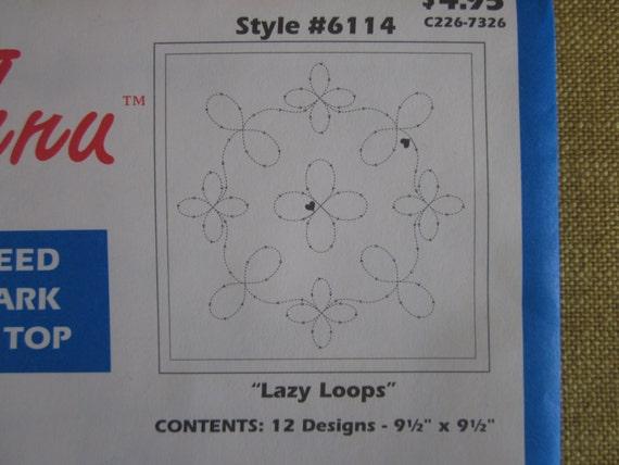Stitch-thru tear away stencils for quiltinglazy loops