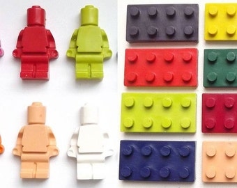 Lego inspired character crayons, Men and Bricks 8 in a pack