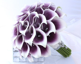 Purple Wedding Bouquet, Purple Bridal Bouquet, Cally Lily Bouquet, Bridal Calla Bouquet, Real Touch Silk Wedding Flowers