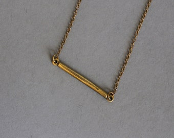 Delicate Bar Necklace, Bar Layering Necklace / Minimal Necklace / Dainty Layered Necklace / Simple Bar Necklace / Brass Bar on Brass Chain
