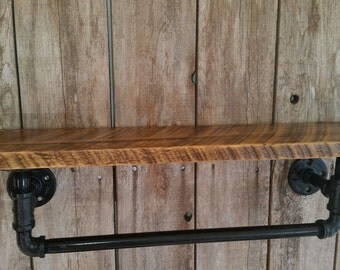 Industrial Towel Rack with Reclaimed Wood Shelf