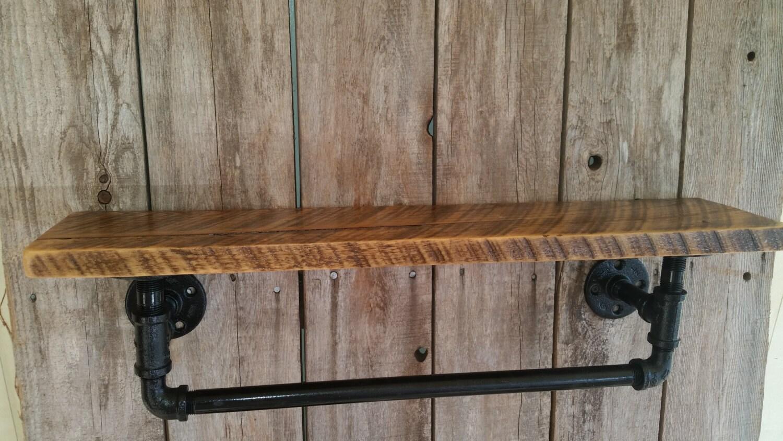 industrial towel rack with reclaimed wood shelf. Black Bedroom Furniture Sets. Home Design Ideas