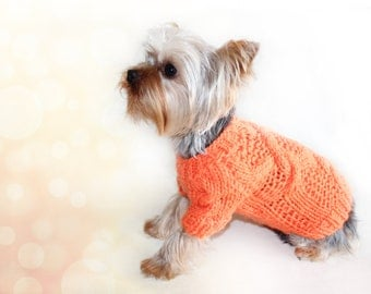 Hand Knitted Orange Dog Pullover, Knitted Pet Orange Sweater, Knitted Warm Sweater for Dogs, Knitted Warm Clothes for Small Dogs