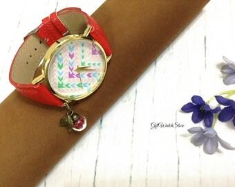Retro Leather Watch, Leather Watch, Leather Bracelet Watch, Wrist Watch, Arrow Watch, Vintage Leather Watch Glass Orb Charm