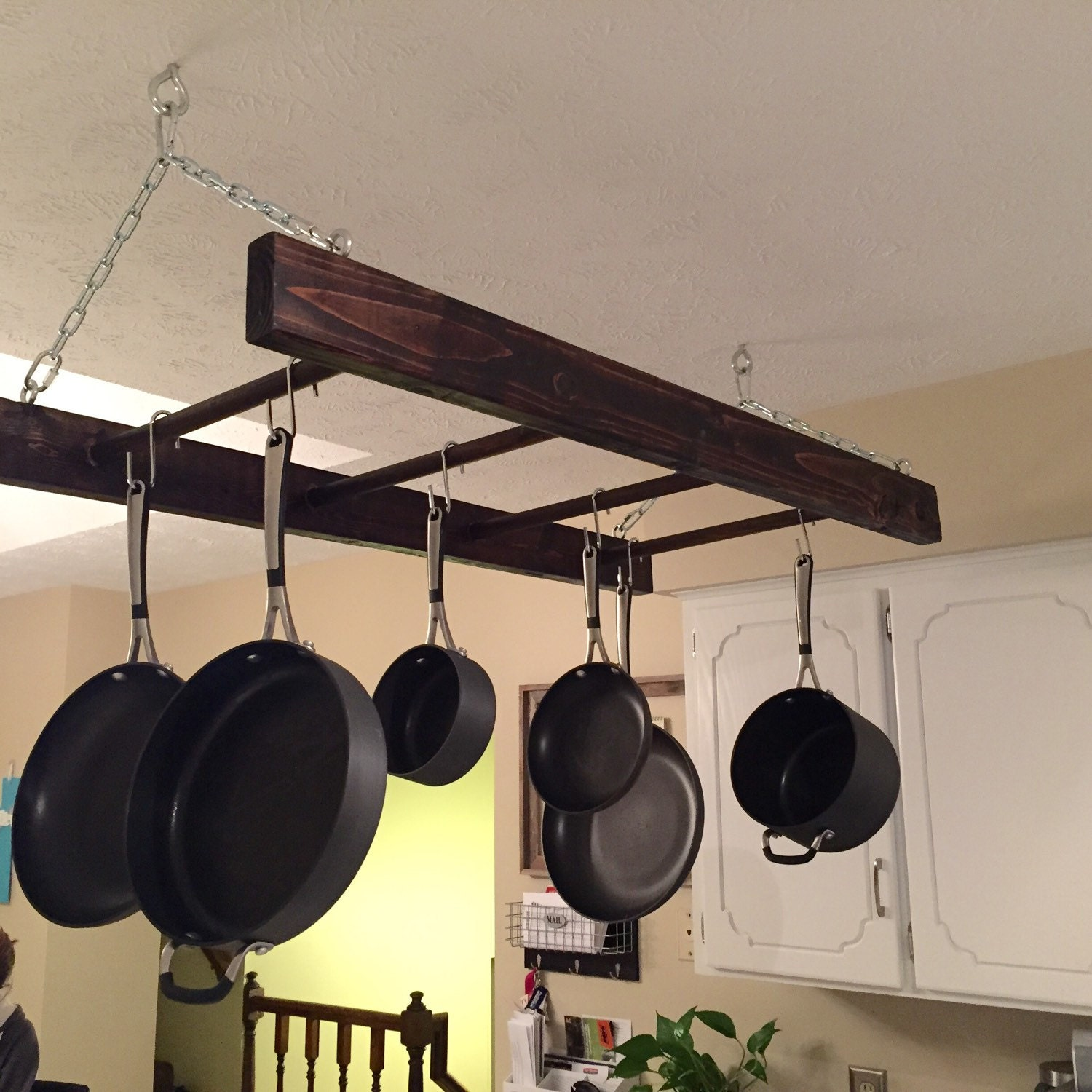 Rustic Wood Hanging Pot Rack Ladder Kitchen By