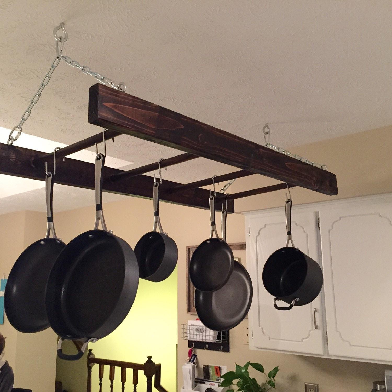 Rustic wood hanging pot rack ladder kitchen by for Pot racks for kitchen