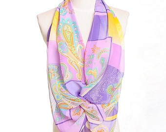 Womens Scarf, Purple Scarf, Pink Scarf,  Floral Print Scarf, Fashion Scarf, Chiffon Scarf, Voile Scarf, Cotton Scarf, Womans Scarf