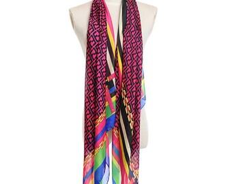 Womens Scarf, Purple Scarf, Floral Print Scarf, Fashion Scarf, Chiffon Scarf, Voile Scarf, Cotton Scarf, Womans Scarf