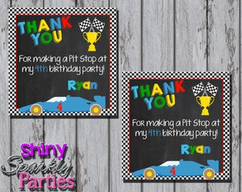 Printable RACE CAR Favor TAGS - Racing Favor Tags - Race Car Birthday Party Favor Tags - Racing Birthday Thank You Tags - Race Car Birthday